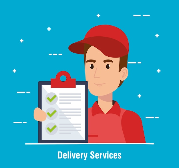Courier character delivery service icon