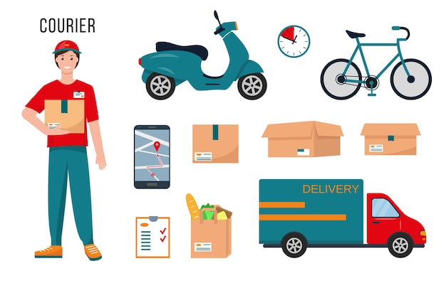 Courier character, delivery supplies and equipment for his work isolated on white background.