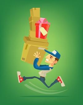 Курьерский персонаж работает с коробкой. курьер.