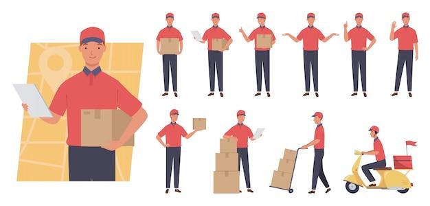 Набор символов курьера. служба доставки. разные позы и эмоции.