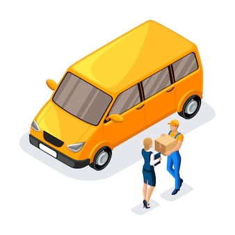 Courier delivered a parcel to a business woman, a delivery service worker gives an order near a work machine. express, home, fast delivery, shipping