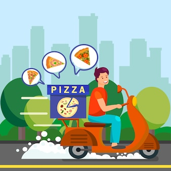 Courier delivering dinner to suburbs illustration