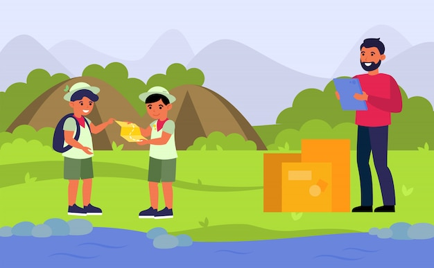 Corriere che consegna ordine al campo degli esploratori