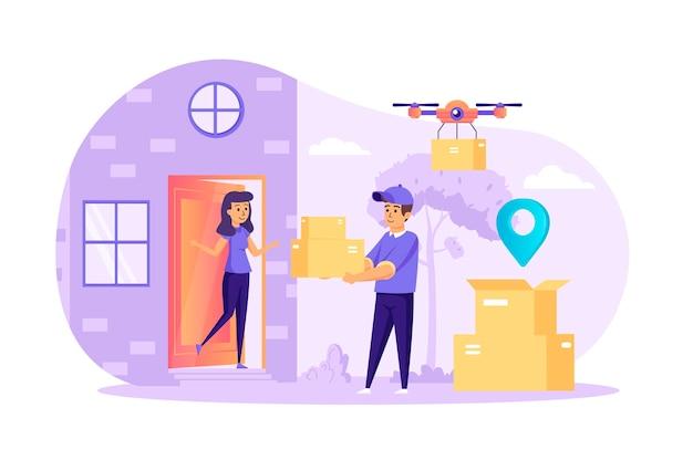 宅配便は、人々のキャラクターシーンでホームフラットデザインコンセプトに注文を配信
