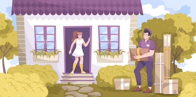 Composizione piana di consegna del corriere con la casa vivente del paesaggio all'aperto con l'ospite e il ragazzo delle consegne con l'illustrazione dei pacchi