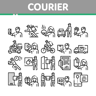 Courier delivery job collection icons set