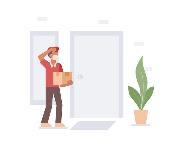 A courier delivery man wearing a face mask delivering a box to customer house door illustration