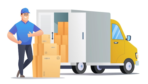 Courier delivery packages by van concept