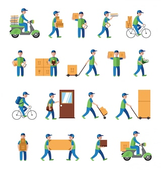 Courier, delivery, postman people. flat style icons