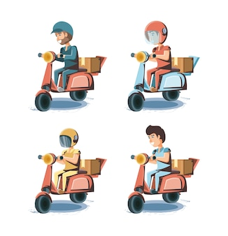 Courier delivery service in motorcycle icon vector ilustration