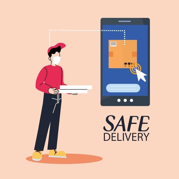 Курьерская служба доставки со смартфоном, отслеживание посылок