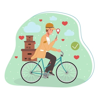 Courier or delivery service workers on bicycle character with parcels packages boxes