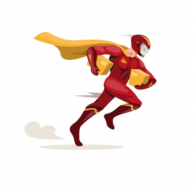 Courier express mascot hero, superhero courier running fast carrying package deliver to customer in cartoon flat illustration vector isolated