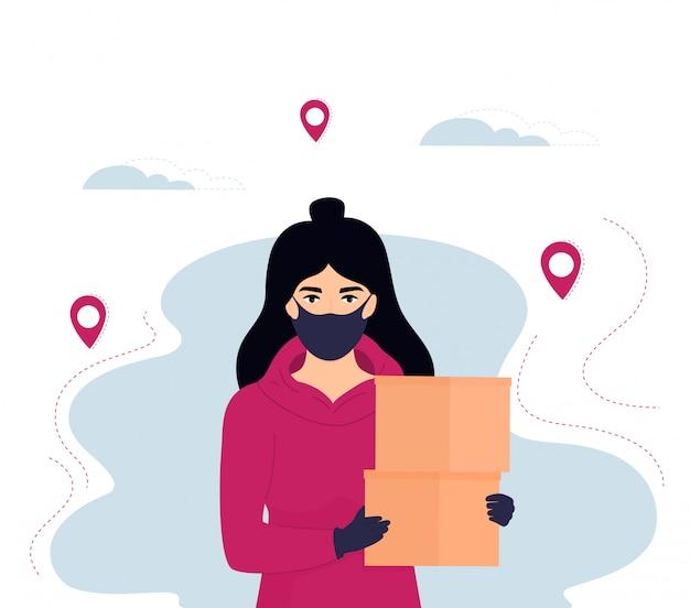 Курьер девушка в защитной маске и перчатках доставляет посылку. безопасная доставка еды.
