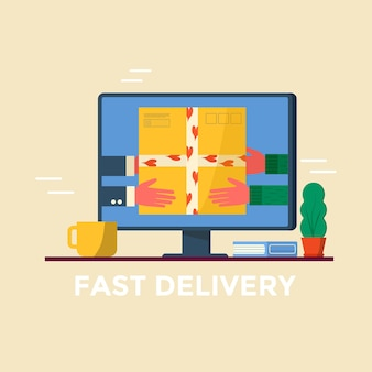 Courier holding in hand parcel ready for fast delivery to the recipient on computer screen. online delivery service concept. vector illustration for web page with postal parcel, pack, box
