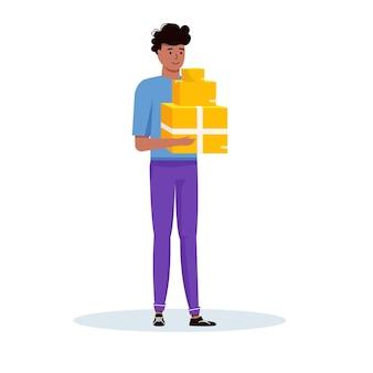 オンライン配送サービスのコンセプトのための小包、パック、ボックスを手に持っている宅配便。配達サービスのベクトルイラスト、食品付きカートンパッケージ。