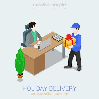 Концепция доставки подарков праздник курьер человек, давая настоящее окно человеку изометрии