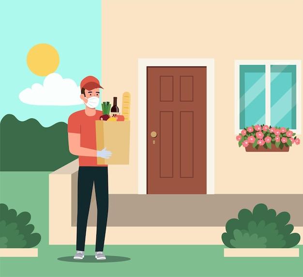 의료 마스크에 택배와 아파트 문 근처에 식료품 가방을 들고 장갑