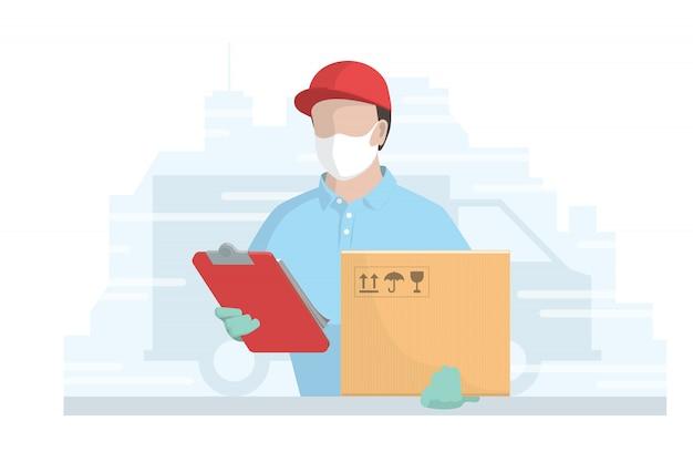 Курьер в медицинской маске на лице во время пандемии коронавируса. доставщик посылок держит коробку и блокнот. плоская иллюстрация.