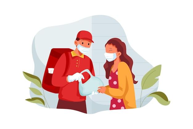 保護マスクと医療用手袋の宅配便で持ち帰り用の食品を配達