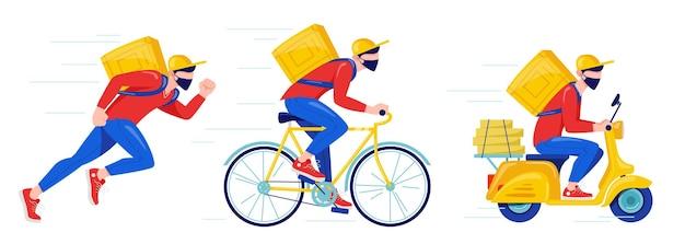 보호 마스크를 쓴 택배가 자전거로 물품과 음식을 배달합니다. 온라인 배달 비접촉 서비스