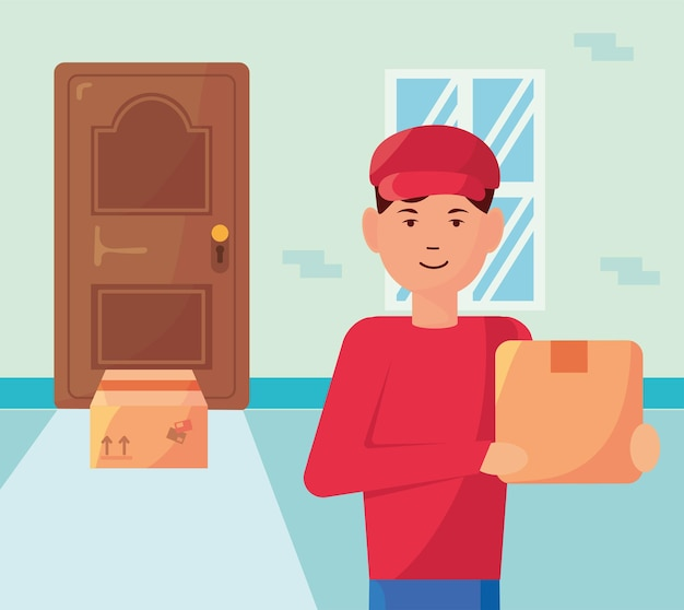 Courier lifting boxes in house door delivery service elements illustration