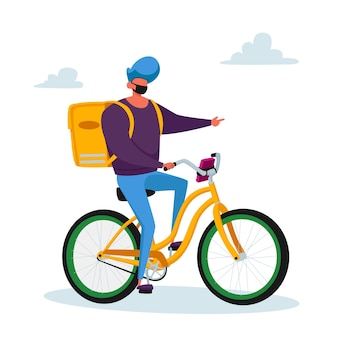 Courier male character delivering food products to customer on bike. express delivery service during coronavirus pandemic