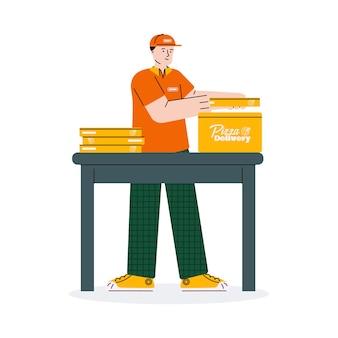 Курьер собирает заказ доставки пиццы в одну коробку