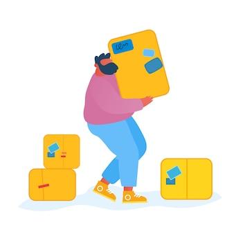 宅配便の男は、白い背景で隔離の小包ボックスを運びます。