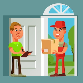 Courier man character brought parcel consumer. fast online shopping delivery cartoon illustration