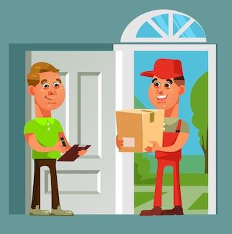택배 맨 캐릭터가 소포 소비자를 가져 왔습니다. 빠른 온라인 쇼핑 배달 만화 그림