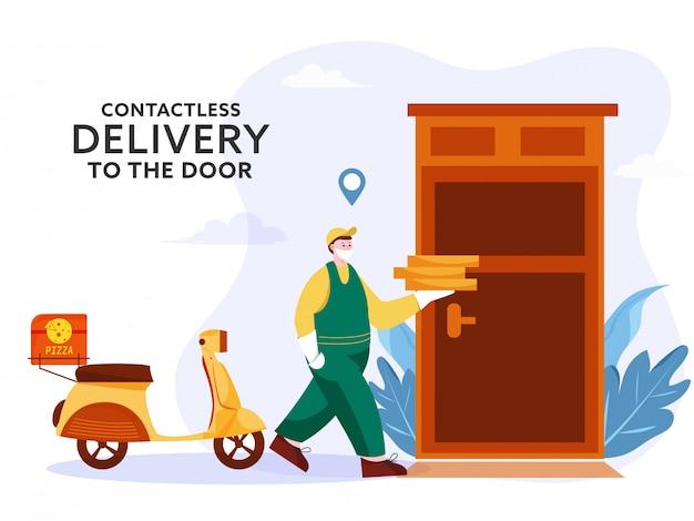 宅配便の男性がドアの前にスクーターを備えたピザの小包を持ち、コロナウイルスを防ぐために非接触で配達します。