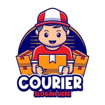 宅配便の男のマスコットキャラクター漫画のロゴのテンプレート