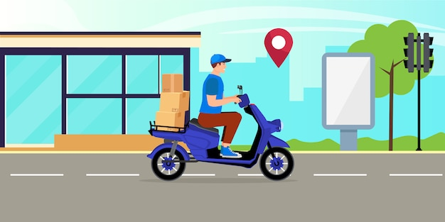 Courier man riding on delivery scooter with food box on city background with map