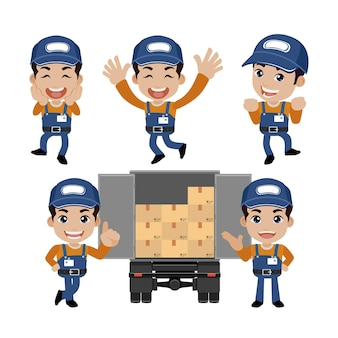 Courier man with different poses