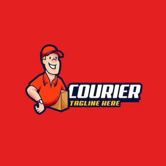 Courier mascot logo design illustration. courier man hold the box for delivery vector illustration