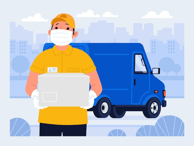 Courier in a medical mask delivery service during the coronavirus epidemic fast shipping