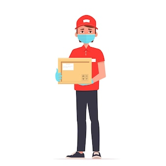 Courier in medical mask and gloves holds a parcel illustration