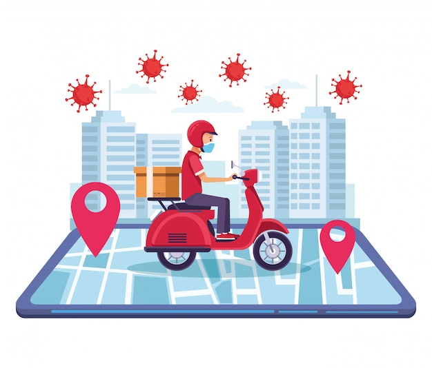 Courier in motorcycle delivery online service