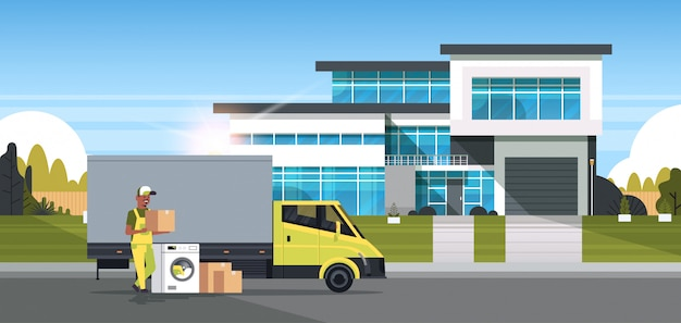 골판지 상자 세탁기 국내 기기 매장 상품 구매 유통 개념 별장 집 외부 전체 길이 가로 배달 트럭 근처 택배