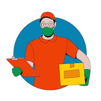 의료 마스크와 장갑 플랫 택배 또는 배달원 캐릭터