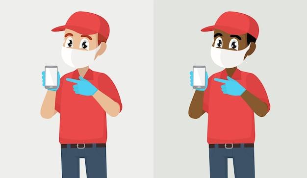 택배 또는 배달 사람 마스크와 장갑 표시 전화