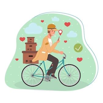 Работники курьера или службы доставки на велосипеде персонаж с коробками пакетов посылок