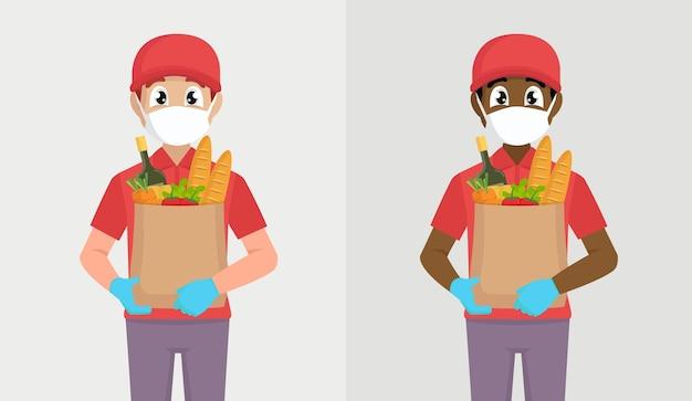 마스크와 식료품 팩을 들고 장갑에 택배 또는 배달원