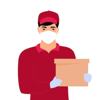 A courier in a protective medical mask holds parcels in his hands. free food delivery.