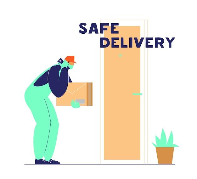 Курьер ставит посылку возле двери и звонит клиенту. безопасная доставка во время карантина по коронавирусу.