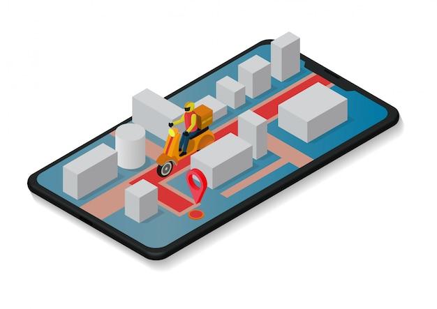 Курьер ездит на скутере по мобильному телефону