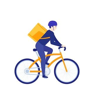 自転車に乗る宅配便、白で隔離の自転車の配達員、ベクトルアート