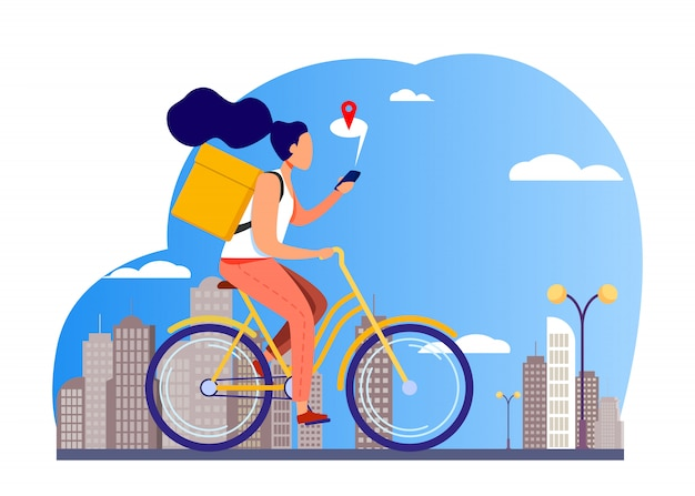 宅配バイクに乗って電話で住所を確認する