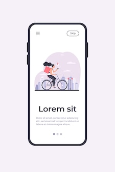 Courier riding bike and checking address on phone. woman delivering order, using cell with map flat vector illustration. delivery service concept for banner, website design or landing web page